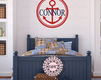 Personalized Nautical Vinyl Wall Decal - Circle Monogram Baby Boy Decal with Name Anchor FN0592