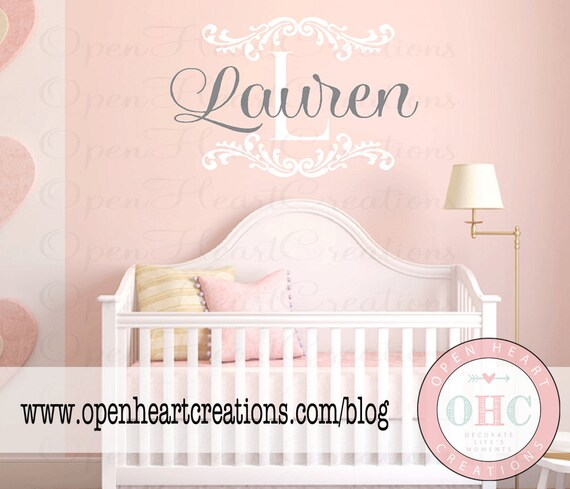 Initial and Name Vinyl Wall Decal with Shabby Chic Accents - Baby Nursery Monogram Vinyl Lettering Decal Sticker 22H x 32W FN0224