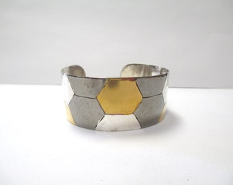 Vintage Tri-Colored Metal Honeycomb Cuff Bracelet DEADSTOCK