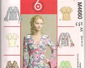 Misses Pullover tops McCalls 4660, V Neckline, Long or Short Sleeve, Butterfly Sleeve, Sleeve with flounce 6 8 10 12 Uncut OOP