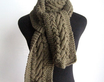 Fall Scarf, Moss Green Scarf, Cable and Lace Scarf, Winter Fashion Accessories, The Stef Scarf, Vegan Men Scarf, Women Knitted Scarf