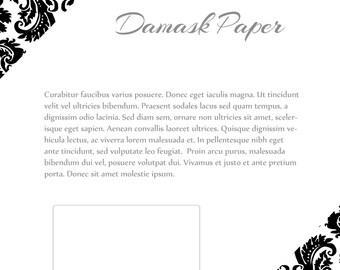 Instant Download Line Sheet template set - Damask Paper design, 4 pages