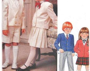 1980s Vogue 1313 Uncut (Sz 5) Boys & Girls Formal Suit Pattern Jacket Skirt Shorts Pants Little Vogue 80s Vintage Sewing Pattern UNCUT