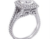 Round Cut Antique Style Double Halo Engagement Ring R218