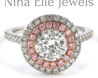 Round cut double halo engagement ring with pink diamonds R216