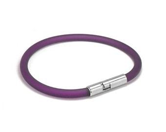 Purple Rubber Bracelet 5mm Rubber 6mm Clasp