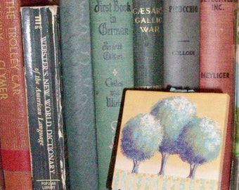 Hand Painted Mini Canvas and Easel   Contemporary Round Trees Landscape