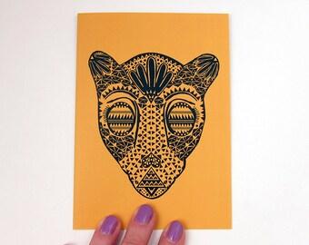 Black and Gold Jaguars Greeting Card