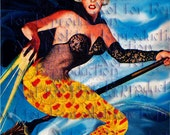 HALLOWEEN FABRIC MERMAID Witch Quilts Patch Sewing Fabric Panel Quilting Cotton Fabric Block phm23.