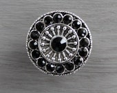 Crystal Drawer Knobs - Furniture Knobs with Black Glass Crystals (MK113) in Silver