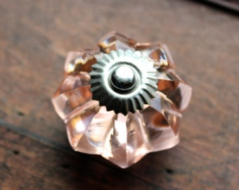 Pink Glass Melon Drawer Knob - Glass Cabinet Knob with Silver toned Hardware (CK50)