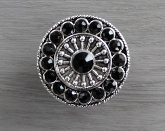 Black Crystal Drawer Knobs - Black Glass Knobs in Silver setting (MK113-04)