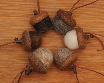 Felted Wool Acorns or Acorn Ornaments, Natural colors