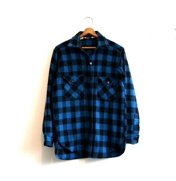 blue buffalo plaid wool shirt vintage ll bean med