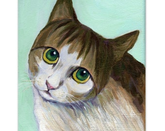cat art print of original artwork - A Cat With Innocent Look - green eyed cat painting, cat lover gift and wall art
