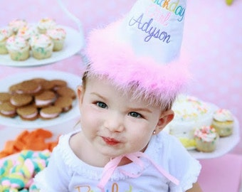 Girl Birthday Hat...First birthday hat...Pastel birthday hat...Girls Birthday hat