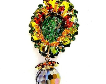 Amazing Austria Molded Glass Brooch with Dangling Mirror Bead