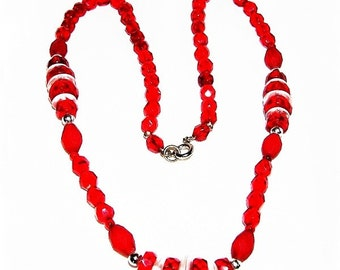 Red and Clear Vintage Faceted Glass Necklace