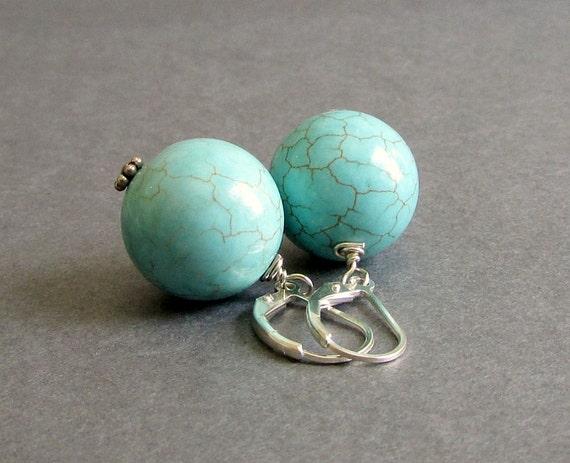 Tiffany Blue Magnesite Earrings / Gemstone Bead Earrings / Sterling Silver Lever Back Earrings - Impact