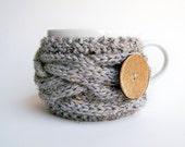 Knitting PATTERN, Coffee Cup Cozy Pattern, Tea Cozy Pattern, Mug Cozy Pattern Coffee Cozy Sleeve Pattern Grey Gray