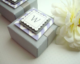 Personalized Wedding Favor Boxes with Custom Chevron Tags, Set of Ten