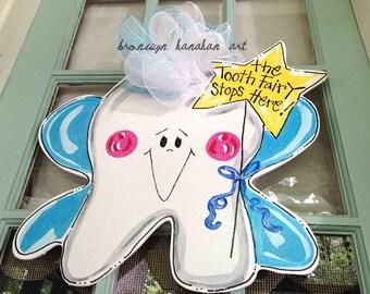 The Tooth Fairy Stops Here Door Hanger - Bronwyn Hanahan Art