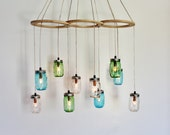 Sea Glass Mason Jar Chandelier, Large Hanging Chandelier, Kitchen Island Dining Table Lighting, Handcrafted Modern BootsNGus Lights & Decor