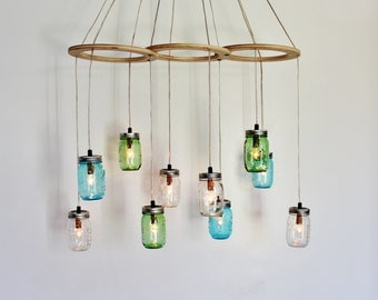 Mason Jar Chandelier, Large Hanging Chandelier, Sea Glass Kitchen Island Dining Table Lighting, Handcrafted Modern BootsNGus Lights & Decor