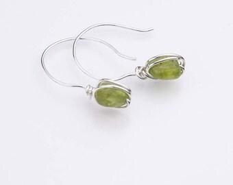 Peridot Drop Earrings- Green Gemstone Earrings- Sterling Silver Earrings for Heart Chakra - August Birthstone -E1085