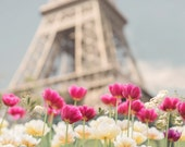 Paris Photography -  Tulips at the Eiffel Tower, Paris in Spring, French Home Decor, Large Wall Art