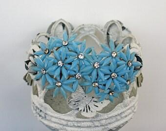 Vintage 50s Flower Earrings Large Blue Plastic Flowers w Rhinestones Clip Back