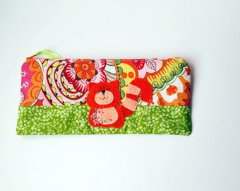 Zipper Pouch, Pencil Case, or Cosmetic Bag - Sloane in Persimmon, Orange, Yellow, White and Green with Handmade Felt Cat Embellishment