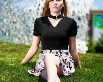 Vintage 1960s Dress / 60s Mod Mini Dress / Medium / Go Go Dress