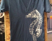 Big SEAHORSE American Apparel T-shirt  Blue V-neck   XS S   M L or  XL