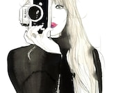 Nikon Girl, print from original watercolor and pencil fashion illustration by Jessica Durrant