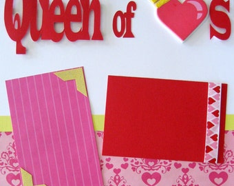 Scrapbooking Page Kit Disney Valentines Girl Heart Queen Premade Layout  2 Pages