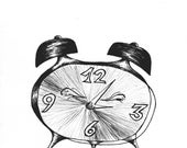 Grumpy alarm clock portrait, funny art illustration in black and white, reproduction on recycled paper