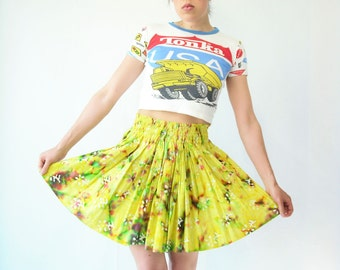 SALE...Vintage 70's Neon Yellow Tie Dye High Waist Skirt / Mini Skirt