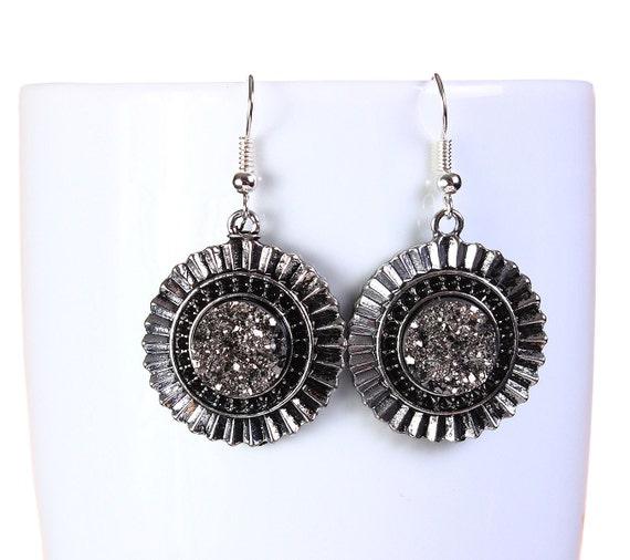 Antique silver black and silver faux dusy dangle earrings - Faux Druzy earrings - Nickel free lead free earrings (795)