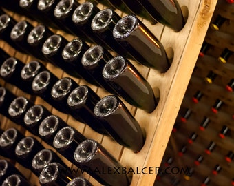 Photograph Print - Riddling Bottles, Napa Valley California - sonoma county winery vineyard vino grapes pinot cabernet napa champagne rack