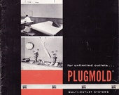 Vintage Plugmold by Wiremold 1950s 1960s sales brochures electrical outlet wiring system industrial design contractor - Free U.S. shipping