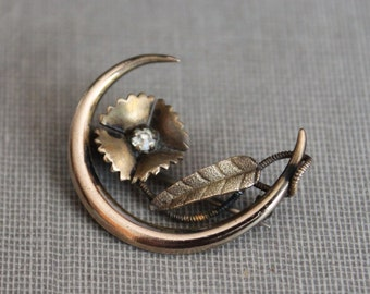 Victorian Crescent Moon Honeymoon Pin with Paste Flower signed Sturdevant and Whiting