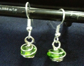 Silver-Wrapped Green Glass Drop Earrings