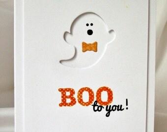 Boo To You Halloween Card, Cute Halloween Card with Ghost, Happy Hello Halloween Card