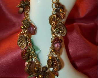 Autumn Earth Colors Wire Wrapped Jingle Jangle Bracelet