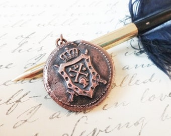 Antique Wax Seal Pendant Copper Heraldry Coat of Arms Necklace