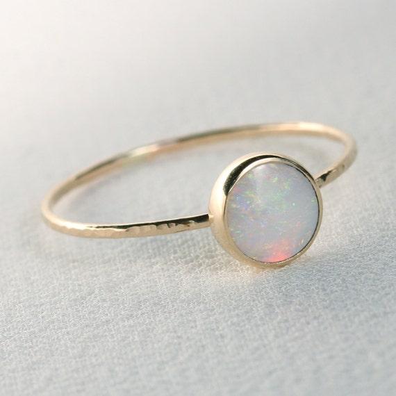 solid 14k gold fiery aaa opal orbital ring by maryjohn