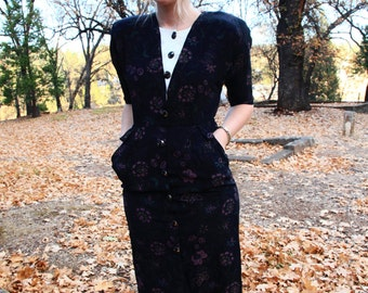 BRAT PACK - Black Smokey Mauve Floral Chic Sassy Formal Working Girl Button Up Sophisticated Dress Small
