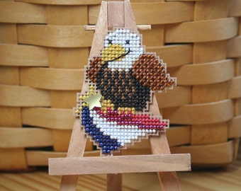 American Eagle Beaded Cross Stitch Ornament, Pin, or Magnet - Free U.S. Shipping