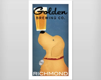 GOLDEN RETRIEVER Brewing Company FREE Personalization Custom  Craft Beer graphic art print Signed Poster